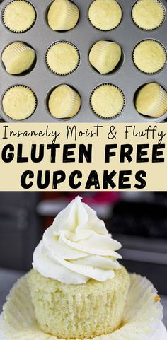 dessert recipes This recipe for gluten free vanilla cupcakes is insanely simple & equally delicious! It comes together in one bowl and makes super moist and fluffy cupcakes Gluten Free Sweets, Gluten Free Cakes, Gluten Free Baking, Gluten Free Recipes, Baking Recipes, Easy Vanilla Cupcakes, Fluffy Cupcakes, Vanille Cupcakes, Bon Dessert