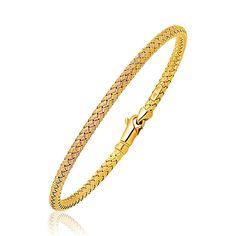 Fancy Weave Bangle in 14K Yellow Gold (3.0mm)