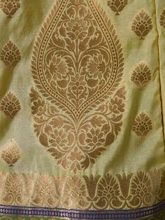 Banarasee Handwoven Art Silk Unstitched Lehenga & Blouse Fabric With Net Dupatta-Lemon Yellow