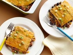 Mexican Lasagna from FoodNetwork.com~ I make this all the time and it is one of my family favorites~ AND it is low cal,healthy and is good for leftovers or to take for lunch! Win-Win!-Win!