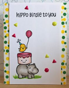 "There's a Card for That: Hippo Birthday | ft. Lawn Fawn ""Year Four"" Stamp S..."