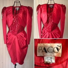 red sequinned dress with bolero jacket. Made by Paco. Melanie Griffith, Bolero Jacket, Killer Heels, 1980s, Retro Fashion, Bodice, Vintage Outfits, Size 12, Leather Jacket