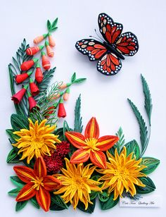quilling, flowers, butterfly / quilled by Cris Tan