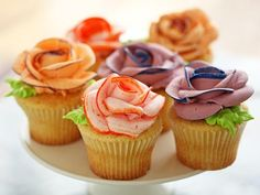 Get Cupcakes with Piped Flowers Recipe from Cooking Channel