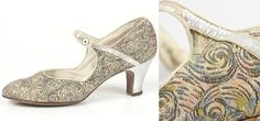 Printed silk and silver brocade flapper shoes by Wise Shoes 1920s