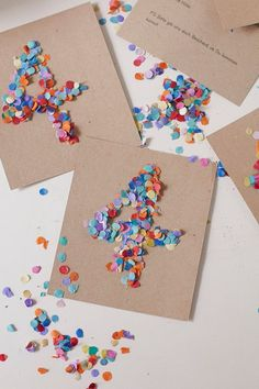 Make birthday invitations yourself! Confetti for everyone , DIY - Pretty invitation cards for children& birthdays quickly and easily make yourself. Make Birthday Invitations, Happy Birthday Cards, Birthday Gifts, Mason Jar Crafts, Mason Jar Diy, Diy Y Manualidades, Kids Cards, Cards Diy, Diy For Kids