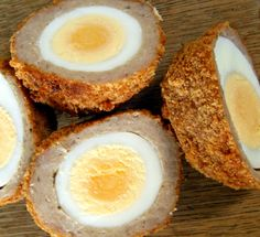medium-middled, crunchy panko-crusted scotch egg