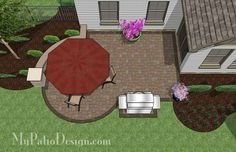 Small Courtyard Patio Design with Seat Wall | 285 sq ft | Download Installation Plan, How-to's and Material List @Mypatiodesign.com
