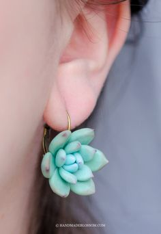"""Teal succulent earrings, Mint cactus flower Perfect jewelry to your wedding in """"succulents theme"""" Made of baked polymer clay Brass metal Size of flowers 2.5cm (1 inch) Not fragile"""