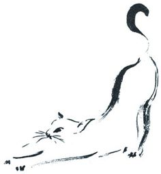 Stretching cat - by Unspecified Artist