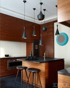 Designer duo Kelli Wilde and Laurent Champeau--Apt in Nouvelle Athenes #wood #black #pendants