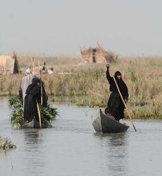 Marsh Arabs, Iraq marshes-boats-women.jpg