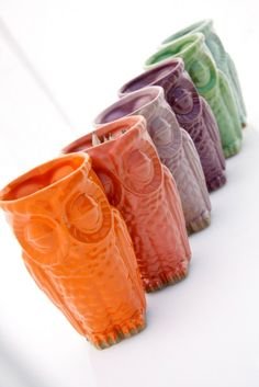 whimsical ceramic handmade owl tumbler colorful owl door claylicious