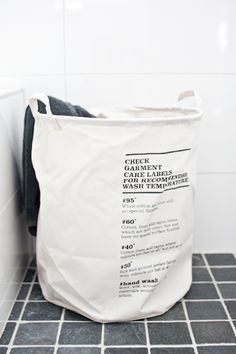 Laundry bag http://www.blanchome.com/products/laundry-bag-with-wash-instructions-house-doctor