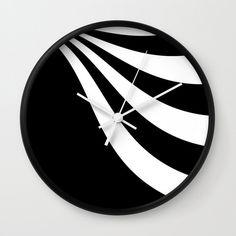 Black & White Wave Wall Clock by laec Clocks, Waves, Black And White, Creative, Artwork, Work Of Art, Auguste Rodin Artwork, Black White
