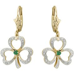 Solvar Diamond Emerald Accent Shamrock Earrings, 14K (7585 MAD) ❤ liked on Polyvore featuring jewelry, earrings, paddy, shamrock, st. patrick, diamond jewellery, diamond earrings, 14 karat gold earrings, celtic earrings and 14k diamond earrings