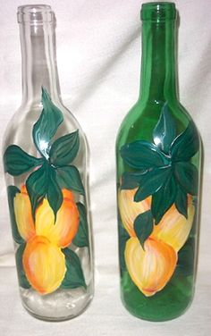 Hand Painted Wine Bottles                                                                                                                                                     Más
