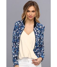 Rebecca Taylor-Floral Silk Bomber | Was $395, Now $315.99. Buy link: http://www.6pm.com/rebecca-taylor-floral-silk-bomber-dark-combo