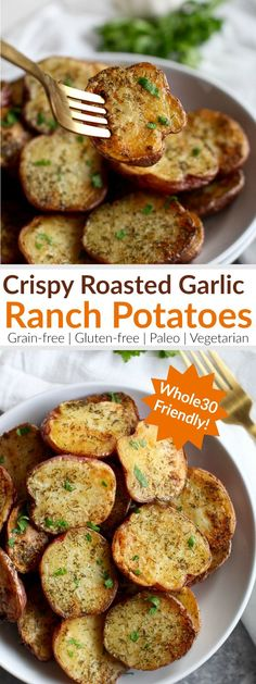 Crispy Garlic Ranch Roasted Potatoes make for a simple and scrumptious, crowd-pleasing side-dish. A Whole30-friendly recipe that's made with a few simple ingredients. Have leftovers? Serve em' up for breakfast the next day or add them to an egg bake. http://therealfoodrds.com/crispy-garlic-ranch-roasted-potatoes/