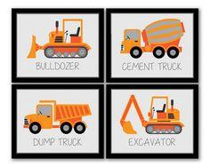 INSTANT DOWNLOAD, Construction Art, Set of 4, Dump Truck, Excavator, Bulldozer, Cement Truck, Boys Room, Kids Wall Art, Trucks Art, Vehicles on Etsy, $16.24