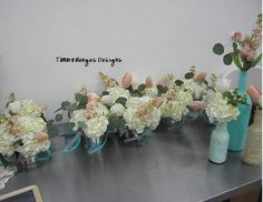 #hydrangea #tiffany blue #peach #DIY wedding