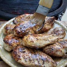 This juicy grilled chicken is brushed with a buttery sauce (no need for a marinade!) and gets a salty tang from Worcestershire sauce and lemon juice. Barbque Sauce, Perfect Grilled Chicken, Green Egg Grill, Meat Marinade, Chicken With Olives, Boneless Chicken, Other Recipes, I Foods, Chicken Recipes