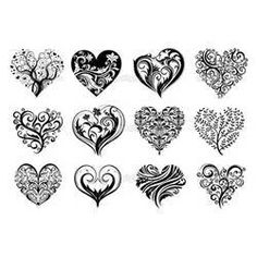 12 Tattoo Hearts Stock Vector Picture #10072 1024x725
