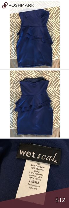 Wet Seal blue staples peplum dress Wet Seal blue staples peplum bodycon dress. Never worn. Excellent condition. Size small. Wet Seal Dresses Strapless