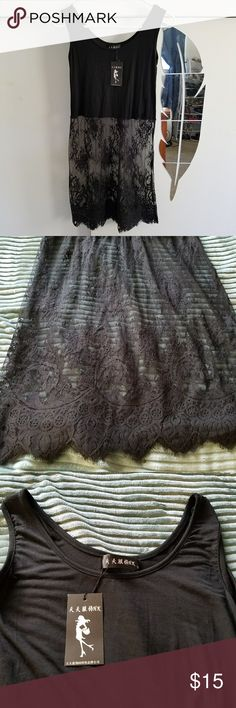Dress This is a gorgeous dress that can be worn under other dresses that may be too short or very cute with leggings.  The lace is unique and perfect for summer.  With many versatile uses.  New with tags.  Says small but fits like a medium. ?? Dresses Mini