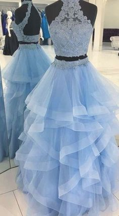 Two Pieces Open Back Lace Organza Ruffle Long Evening Prom Dresses LP599 on Storenvy Prom Girl Dresses, Pretty Prom Dresses, Pageant Dresses, Quinceanera Dresses, Dance Dresses, Homecoming Dresses, Beautiful Dresses, Indian Wedding Gowns, Prom Dresses Two Piece