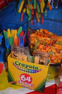 Empty Crayon box stuffed with Cheese strings to look like Crayons for Crayola Birthday Party