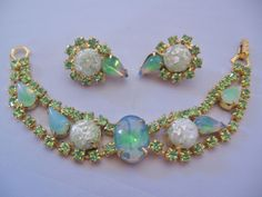 Vintage Mid Century Givre Glass and Rhinestone Bracelet and Earrings Set