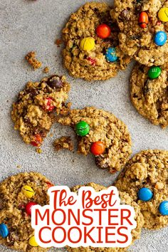 These old fashioned Monster Cookies are soft and chewy. They are filled with chocolate chips, chocolate candies, and raisins. And perfect for dipping in milk!  #monstercookies #cookies Soft Chocolate Chip Cookies, Oatmeal Cookies, Chocolate Candies, Chocolate Chips, Delicious Cookie Recipes, Best Cookie Recipes, Fun Recipes, Dessert Recipes, Desserts