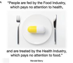 """""""People are fed by the food industry, which pays no attention to health, and treated by the health industry, which pays no attention to food."""" Wendell Berry"""