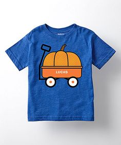 Look what I found on #zulily! Royal Blue Pumpkin Wagon Personalized Tee - Toddler & Kids #zulilyfinds