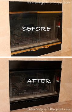 How to paint brass trim on fireplace screen. (Funny thing, I have NO idea if my new house& fireplace has old brass. Fireplace Update, Home Fireplace, Fireplace Remodel, Fireplace Ideas, Fireplace Pictures, Fireplaces, Fireplace Makeovers, Country Fireplace, Fireplace Seating