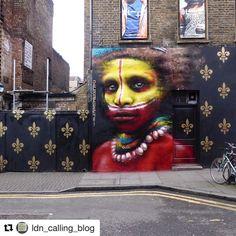 #Repost @ldn_calling_blog with @repostapp  NEW BLOG POST on new work by @dale_grimshaw in Brick Lane. LINK IN BIO. - http://ift.tt/1zfvJ4U - @mark_hat @monoprixx @notbanksyforum #streetart #streetartlondon #streetarteverywhere #streetart_daily #london #londonart #londonlife  #londonstreetart #graffporn #ukstreetart #streetartuk #walls #wallporn #spraypaint #spraypaintart #aerosolart #art #artist  #muraldaily #bricklane #bricklanestreetart #ldncallingblog #papuanewguinea  #londongraffiti…