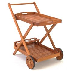 HOLZ SERVIERWAGEN Garten Barwagen Teewagen Tablett Gartenmöbel AKAZIE in Garten & Terrasse, Möbel, Servierwagen | eBay