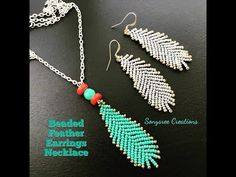 How to make Beaded Feather Earrings or Pendant ...Boho Style Earrings - YouTube