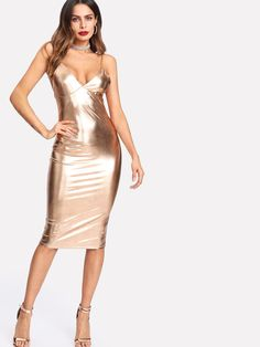 e418701ff062 Metallic Bustier Cami Dress -SheIn(Sheinside) Trendy Outfits, Summer  Outfits, Cute