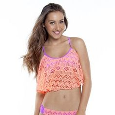 SO® Crochet Flounce Bikini Top - Juniors