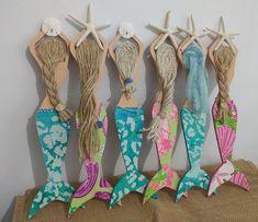 Mermaid Crafts, Seashell Crafts, Beach Crafts, Mermaid Wall Art, Mermaid Beach, Mermaid Mermaid, Mermaid Room Decor, Black Mermaid, Vintage Mermaid