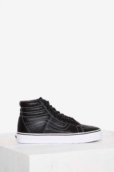 Vans Sk8-Hi Leather High-Top Sneaker - Black - Shoes