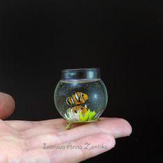 Miniature aquarium clown fish and sea anemone Miniature by Zontiks