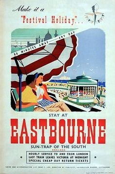 Vintage 1950's Eastbourne Railway Poster16