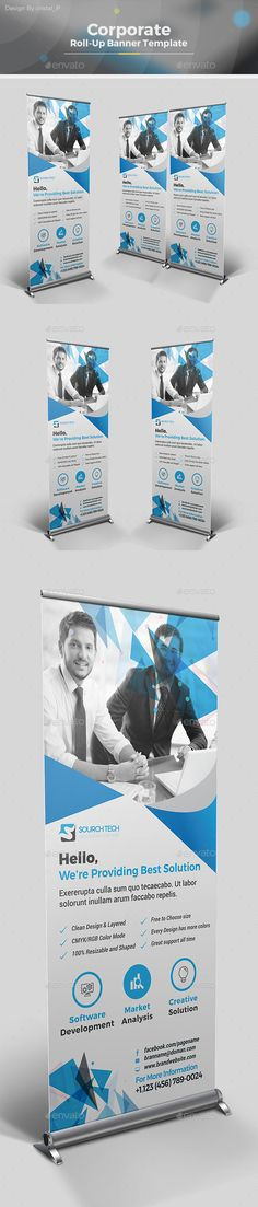 Corporate Roll-up Banner Template Vector EPS, AI Illustrator