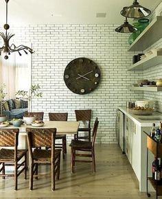modern kitchends with brick wall design