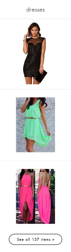 """""""dresses"""" by allimariekoch ❤ liked on Polyvore featuring dresses, short dresses, mini dress, vestidos, green, outfits, robes, green midi dress, hi lo dress and green chiffon dress"""