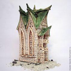 """Купить Подсвечник """"Замок Гронсвард"""" - зеленый, средневековье, сказка, сказочный домик, сказочный, фэнтези, подсвечник"""
