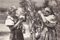 Czech Bohemian and Moravian children from the late 1930s during Easter time